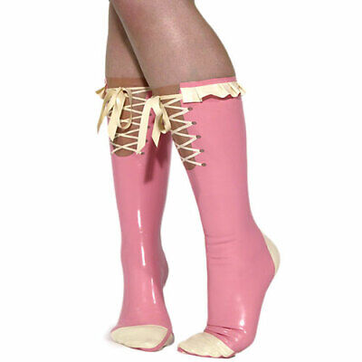 Latex 100% Rubber Gummi Ankle Socken Pink with White Adjustable Socks Size S-XXL