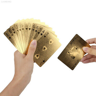 E3D5 Geometric Waterproof Gold Foil Poker Playing Cards For Casino Family Party
