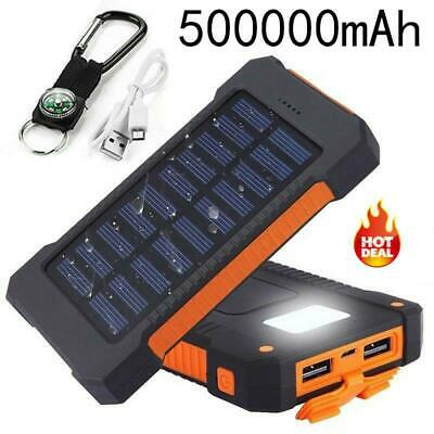 500000Mah Portable Charger Solar Power Bank 2 USB Travel External Phone Battery
