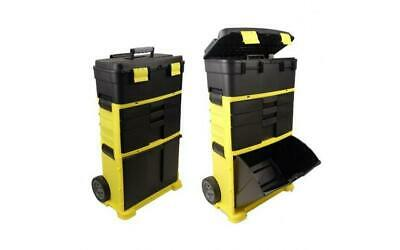 Large Plastic Toolbox On Wheels Storage Cabinet Chest Trolley Cart Heavy Duty