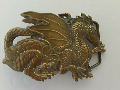 """Large Dragon w/ Young"""" Solid Brass Belt Buckle 1982 Baron Buckles 6295 Thrones"""