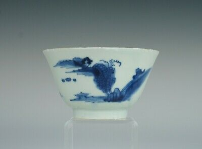 Late Ming, transitional, 17th C, Chinese porcelain tea bowl with landscape, No1