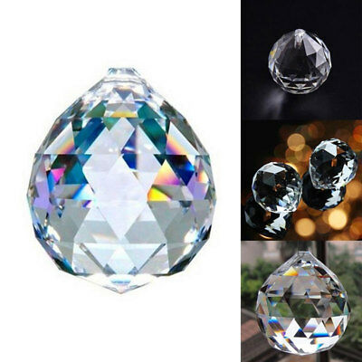 2PCS 20Mm Clear Feng Shui Hanging Crystal Ball Sphere Prism Faceted Sun Catcher