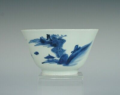Late Ming, transitional, 17th C, Chinese porcelain tea bowl with landscape, No2