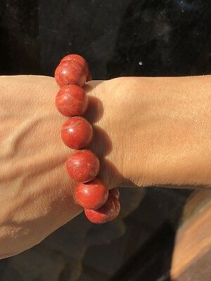 Natural Undyed Sponge Coral CHINESE 15mm Beads Bracelet