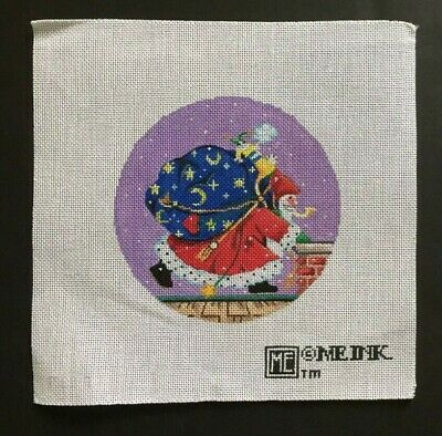 Mary Engelbreit Hand-painted Needlepoint Canvas Santa On The Roof With Toy Bag
