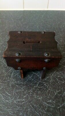 Antique Vintage  Wooden Wood Stool Money box