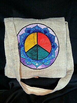 Handmade Hemp Bag Purse peace sign