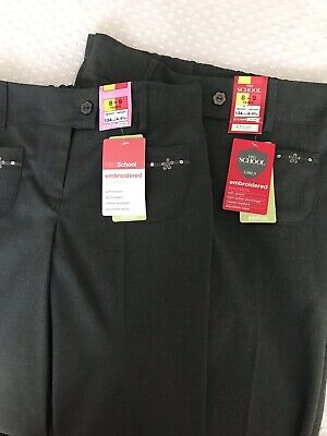 2 Pairs Of Brand New Marks & Spencer's Girls School Trousers 8-9 Yrs