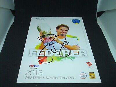 Roger Federer Signed 2013 W&S Open Official Player Card PSA/DNA COA Auto. 1C