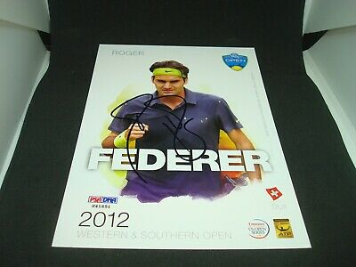 Roger Federer Signed 2012 W&S Open Official Player Card PSA/DNA COA Auto. 1B