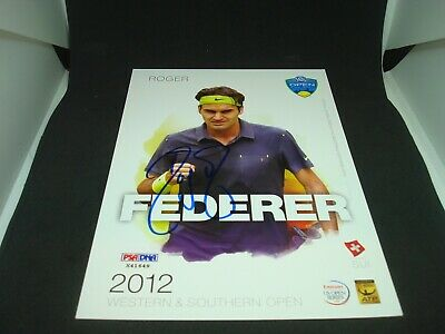 Roger Federer Signed 2012 W&S Open Official Player Card PSA/DNA COA Auto. 1C