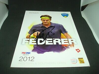 Roger Federer Signed 2012 W&S Open Official Player Card PSA/DNA COA Auto. 1G