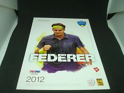 Roger Federer Signed 2012 W&S Open Official Player Card PSA/DNA COA Auto. 1H
