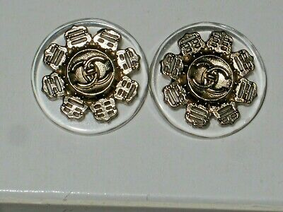 Chanel 2 Cc  Clear & Gold  14 Mm Buttons This Is For Two
