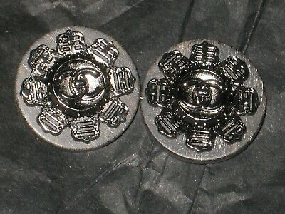 Chanel 2 Cc  Black & Deep Silver  16 Mm Buttons This Is For Two