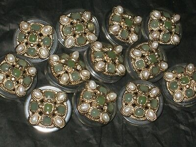 Chanel  12 Cc  Matte Gold Pearl  18 Mm Green Buttons This Is For Twelve