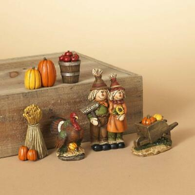 6 Pc Hand Painted Resin Harvest Figurine Set Fall Thanksgiving Tabletop Decor