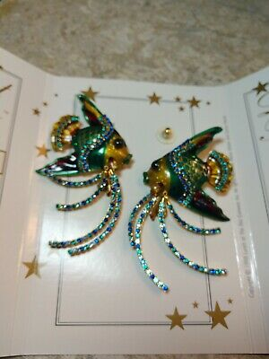 d9d5353d22007 LUNCH AT THE Ritz Vintage peacock earrings - $85.00   PicClick