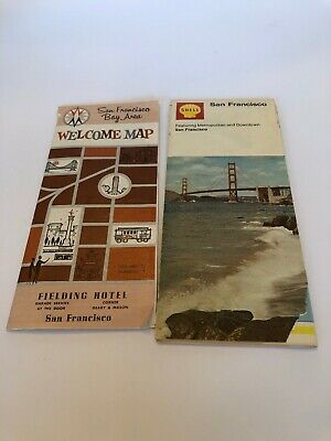 2 Vintage San Francisco Maps Welcome Map Bay Area & Shell Metro & Downtown 1970
