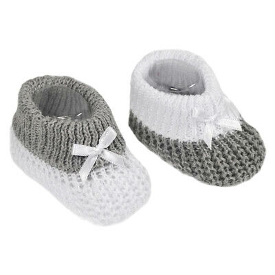Newborn Baby Booties Knitted Bow Spanish Style Grey White Boys Girls Soft Touch