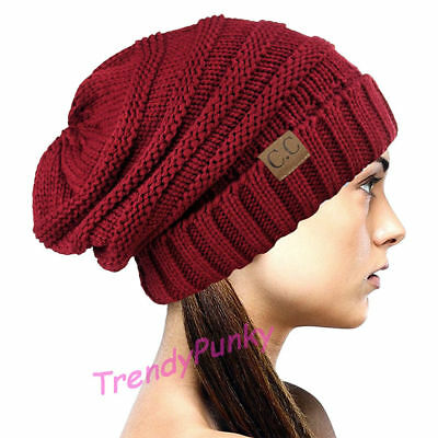 Bubble Knit Slouchy CC Baggy Beanie Oversize Winter Hat Skully Cap - Red