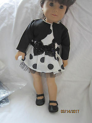"""DOLL CLOTHES Polka dotted dress w/jacket AND shoes  American girl 18"""" dolls"""