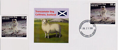 Transcamster Bog, Scotland: mint stamp + first day cover Apollo 11 Moon Landing