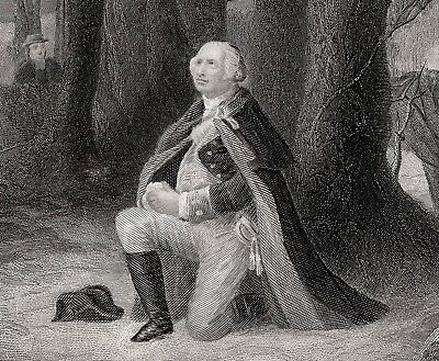 George Washington A PRAYER AT VALLEY FORGE '66 engraving Brueckner pinx McRae sc