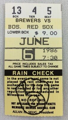 MLB 1986 06/06 Boston Red Sox at Milwaukee Brewers Ticket Stub-Roger Clemens WP