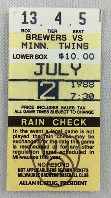 MLB 1988 07/02 Minnesota Twins at Milwaukee Brewers Ticket Stub-Kent Hrbek 2HRs