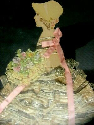 Hand Made Antique Silhouette Paper Doll Ribbon Lace Dress Girl