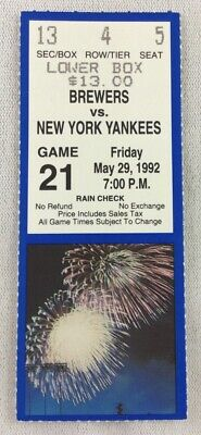 MLB 1992 05/29 NY Yankees at Milwaukee Brewers Ticket Stub-B.J. Surhoff HR