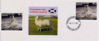 Transcamster Bog, Scotland: FDC and mint stamp Apollo 11 Moon Landing (GBP)