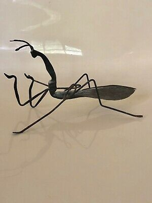 """Vintage Handcrafted Metal Insect Praying Mantis Sculptures Figurine 7"""" Long"""