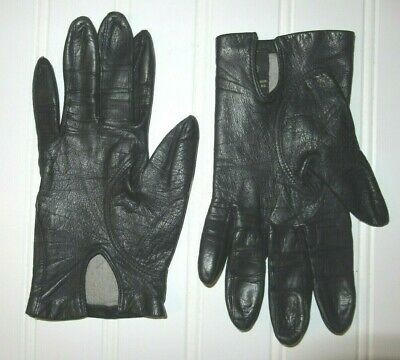 Vintage Fownes Women's Genuine Black Leather Gloves ~ 100% Silk Lined ~ Size 6.5