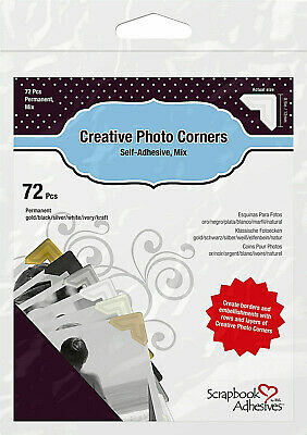 "Scrapbook Adhesives by 3L Assorted Photo Corners  72 each 1/2""   01633"