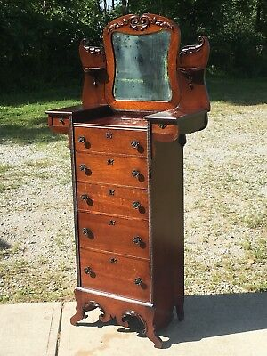 SUPER NICE Antique Quartersawn Oak Lingerie Chest Dresser Jewelry Highboy Mirror
