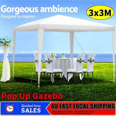 3x3m Pop Up Gazebo Tent Party Wedding Event Marquee Shade Canopy Camping White