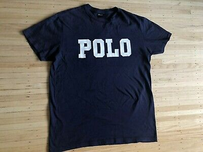Vtg Polo Ralph Lauren T Shirt Spell Out Chest Navy Blue Lo Life Mens Small Rare