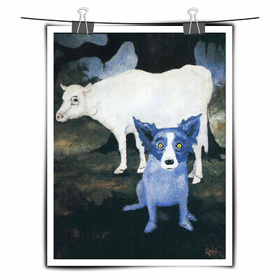 HD Prints Cartoon Animal Blue Dog on Canvas Art Painting Home Wall Decor 16x20