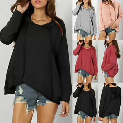Women Solid Hooded Hoodie Sweatshirt Jumper Top Coat Pullover Tops Size 6-18