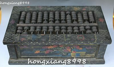 Old Chinese Wood Lacquerware Flower Tree Abacus Counting Frame Abaci Statue
