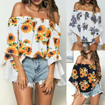 Women's Holiday Off Shoulder Floral Blouse Ladies Summer Flare Sleeve Tops Shirt