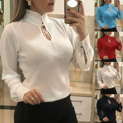 Women Stand Collar Lace Up Solid Shirt Tops Ladies Long Sleeve OL Chiffon Blouse