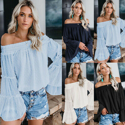 Women's Off Shoulder Solid Chiffon Blouse Ladies Flare Sleeve Pleated Shirt Tops
