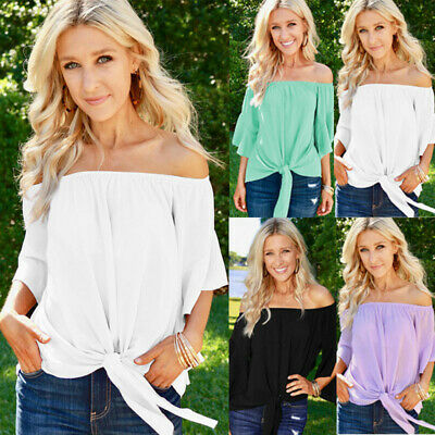 UK Women Summer Off Shoulder Solid Shirt Tops Ladies Casual Loose Lace Up Blouse