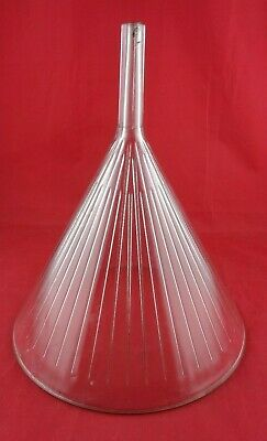 "Vtg Large GLASS Ribbed Apothecary PHARMACY Laboratory FUNNEL 13'' X 11"", W.T. Co"