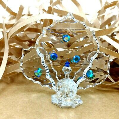 Vintage Crystal Peacock Figurine Multi Faceted Blue Green 1970s Collectable Bird