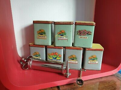 vintage kitchenalia x10 pieces - x7 tin spice cannisters, spoon, icing tool